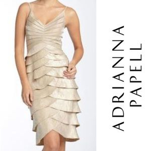 Adrianna Papell Tiered Ruffle Tank Dress Gold 6